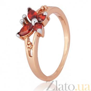 Серебряное кольцо с красным цирконием Butterfly 000028204