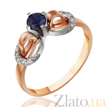 Золотое кольцо с круглым сапфиром Ночь волшебства EDM--КД7514САПФИР
