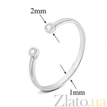 Золотое кольцо в белом цвете с открытой шинкой Аврора SVA--1101228102/Фианит/Цирконий