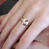 Золотое кольцо Лиственный узор с цирконием