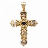 Двусторонний золотой крест-мощевик с бриллиантами и сапфирами Царствие Господне