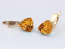 Золотые серьги с цитрином Сандра