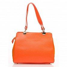 Деловая сумка из кожи и замши Genuine Leather 8939 оранжевого цвета на молнии, с нашивным карманом