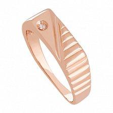 Золотое кольцо с фианитом Ритм дорог