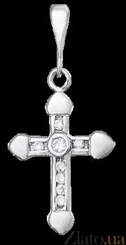 Серебряный крестик с фианитами Лунная дорожка 000025271
