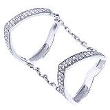 Серебряное двойное кольцо Мирабель с фианитами