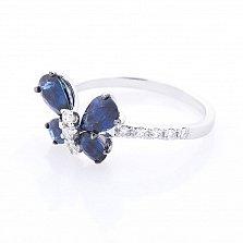Золотое кольцо Синяя бабочка в белом цвете с сапфирами и бриллиантами
