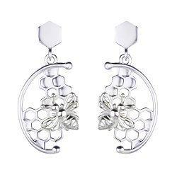 Серебряные серьги-подвески Пчелки за работой 000113700