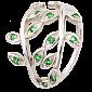 Серебряное кольцо с зелеными фианитами Лавр 000025683