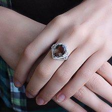 Серебряное кольцо Венетта с дымчатым кварцем и фианитами