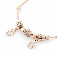 Золотой браслет Юность с шармиками и подвесками в форме кругов и звезд с фианитами