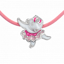 Детское колье Мишка-балерина с эмалью и кристаллом Swarovski на кожаном шнурке