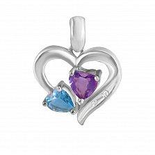 Кулон из белого золота Магия сердца с аметистом, голубым топазом и бриллиантами