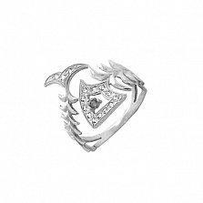 Серебряное кольцо Волшебная прозрачная рыба с фианитами