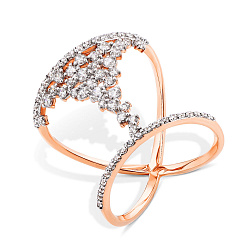Кольцо в красном золоте Жанна с фианитами