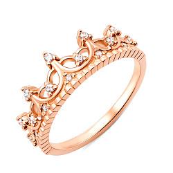 Золотое кольцо Королева в красном цвете с фианитами