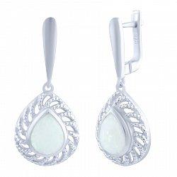 Серебряные серьги-подвески Дидиан с белым опалом