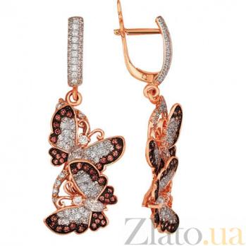 Серьги-подвески из красного золота Весенние бабочки VLT--ТТ226-2