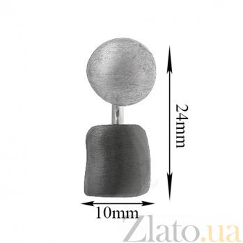 Серебряная серьга-джекет Джаз с эффектом сатина и черненной нижней частью 90157044