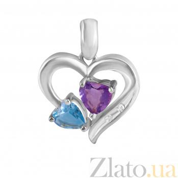 Кулон из белого золота Магия сердца с аметистом, голубым топазом и бриллиантами 000071305