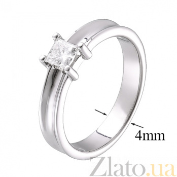 Кольцо из белого золота с бриллиантом огранки Принцесса R 0707/бел