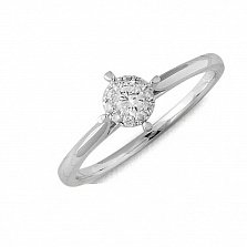 Кольцо из белого золота Любимый цветок с бриллиантами