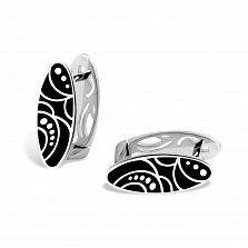 Серебряные серьги Рузанна с черной эмалью