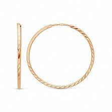 Золотые серьги-кольца Эсмеральда в красном цвете с алмазными гранями