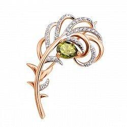 Золотая брошь Перышко Жар Птицы в комбинированном цвете с хризолитом и фианитами