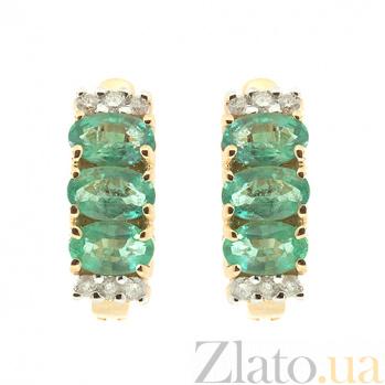 Золотые серьги Хелена с изумрудами и бриллиантами ZMX--EE-6708_K