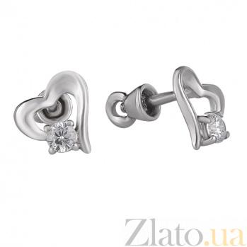 Серебряные пуссеты Влюбленное сердце TNG--520009С