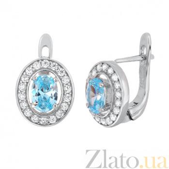 Серебряные серьги с голубыми фианитами Вистилия SLX--СК2ФТ/482