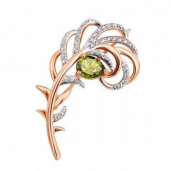 Золота брошка Перо Жар Птиці в комбінованому кольорі з хризолітом і фіанітами 000124327