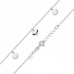 Серебряный браслет с подвесками и цирконием в якорном плетении 000122375