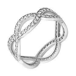 Золотое кольцо в белом цвете с узорной шинкой и белыми фианитами 000102253