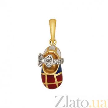 Золотой кулон Туфелька с бантиком в комбинированном цвете с фианитами и цветной эмалью VLT--Т363-2