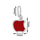 Серебряная подвеска Яблочко с красной эмалью