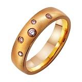 Золотое матированное обручальное кольцо Идеал с фианитами