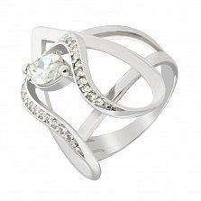 Серебряное кольцо Залика с белыми фианитами