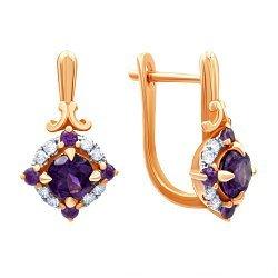 Золотые серьги в комбинированном цвете с родолитами и бриллиантами 000139337