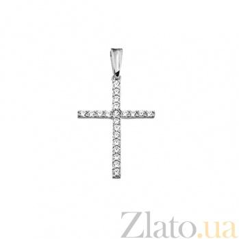 Золотой крестик из белого золота с бриллиантами Сияние SVA--3101501202/Бриллиант