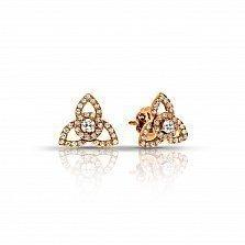 Золотые серьги Трикветры с бриллиантами