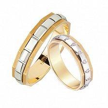 Золотое обручальное кольцо Нью-Йорк в желтом и белом цвете