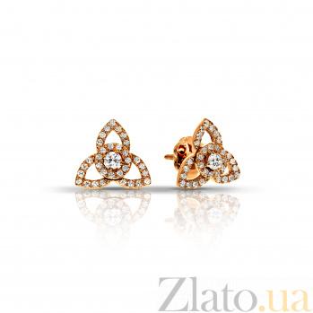 Золотые серьги Трикветры с бриллиантами 000045968