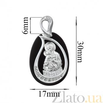 Серебряная ладанка с ониксом Матерь Божья 000006856