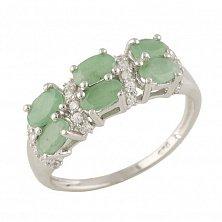 Серебряное кольцо Констанца с изумрудами и фианитами