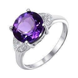 Серебряное кольцо с аметистом и фианитами 000136438