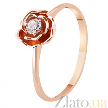 Золотое кольцо с бриллиантом Весенняя роза KBL--К1889/крас/брил
