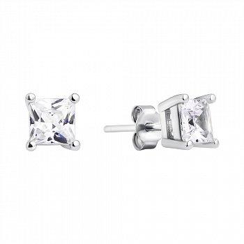 Серебряные серьги-пуссеты с квадратными фианитами 000118191