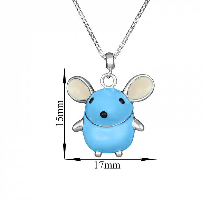 Детское серебряное колье Голубая мышка с эмалью 000080691